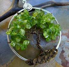 Peridot Tree of Life Pendant with Brass Chain,August Birthstone