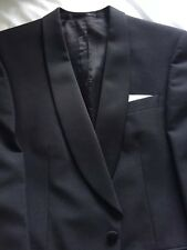 "Superb 38""S Black Dinner Jacket, Single Button, Curved Shawl Lapel, No Rear Vent"