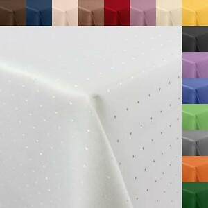 Tischdecke DAMAST Punkte PFLEGELEICHT eckig rund oval Größe Form Farbe wählbar