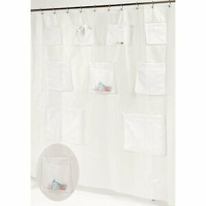"Carnation Home ""Pockets"" PEVA Shower Curtain in Frosty Clear"