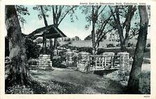 Oskaloosa Iowa~Edmundson Park~Stone Bridge & Well~1938 Blue Sky Postcard