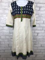 Womens Natural Linen Bohemian Hippy Midi Dress Size Small