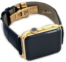24K Gold Apple WATCH 42MM Stainless Steel Case Black Leather Band Deploy Buckle