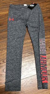 Girls Heathered Gray Under Armour Leggings Pants With Graphic Leg Size 6, NWT