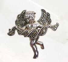 Cherub Rhinestone Pin Signed Jj Antique Vintage Sterling Silver Cupid