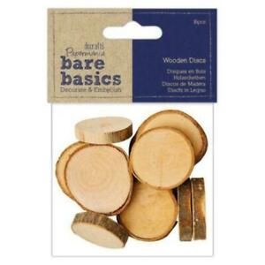 Bare Basics 16 Pack Wooden Discs - 25mm x 25mm - Wooden Discs for crafting