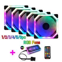 1-6Pack 120mm Computer PC Case RGB Fan Kit Cooling W/ Remote Adjust LED Light