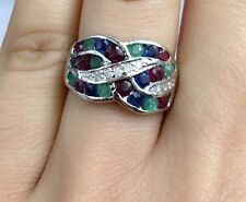 14K Solid White Gold Cluster Band Diamond Ring&Mix Ruby Emerald Sapphire,Sz 6.75