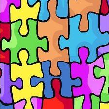 "Autism Puzzle Pieces Fleece Fabric - 60"" Wide - Style# 23973"