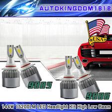 144W Combo CREE 9006 9005 LED Headlight Bulbs Hi/ Lo Beam 15200LM 6000K White US
