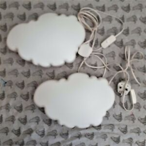 2 X IKEA DROMSYN WALL LAMP WHITE CLOUD CHILDS NURSERY NIGHT LIGHT 7 WATT