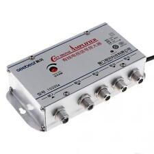 220V 4 Way TV VCR CATV Cable TV Antenna Signal Amplifier Booster Splitter