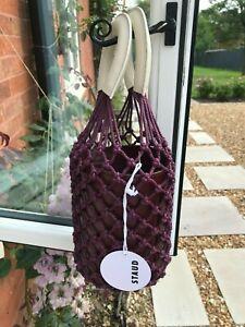 STAUD Bucket Bag / NEW / Burgundy Moreau Leather and Macramé Bucket Bag