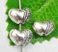 60Pcs Tibetan Silver Heart Shaped Spacer Beads 10x7mm