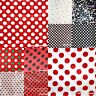 XMAS Red White Minnie Black White Green Polka Dot Design Satin Fabric 1 Yard