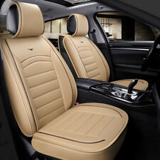 Deluxe Beige PU Leather Front Seat Covers Padded For Honda Civic Accord CR-V