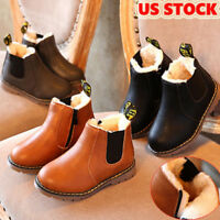 Kids Infant Boys Girls Winter Warm Fur Snow Boots Leather Shoes Zipped Moccasins