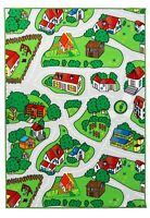 New Soft City Roads / Camping Site Animals Reversible Fun Kids Area Rug