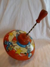 Vintage Ohio Art Tin Spinning Top, Boy and Dog with Wood Handle