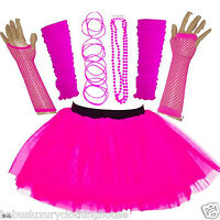 NEW GIRL'S NEON TUTU SKIRT HEN PARTY 80'S FANCY DRESS ACCESSORIES BANGLES PINK