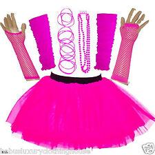NEW WOMEN'S NEON TUTU SKIRT HEN PARTY 80'S FANCY DRESS ACCESSORIES BANGLES PINK