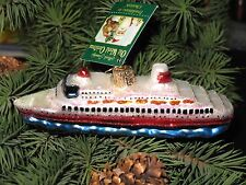 *Cruise Ship* Boat Vacation [46030] Old World Christmas Glass Ornament - NEW