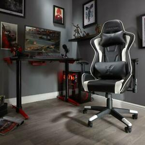 X Rocker Bravo Office PC Gaming Chair Ergonomic Adjustable Cushions White