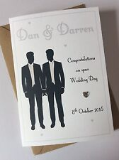 Handmade Personalised Same Sex/Gay Male Wedding Card: Grooms Mr And Mr
