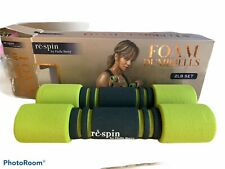 NEW re-spin 2-lb set Foam Dumbbells Green Black by Halle Berry Tone & Strengthen