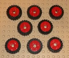 LEGO - Wheel Freestyle, with Black Tire Offset Tread, RED x 8 (6248c01) TW75