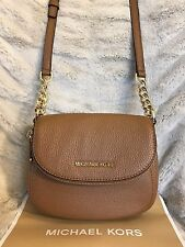 NWT MICHAEL KORS LEATHER BEDFORD FLAP CROSSBODY BAG IN ACORN