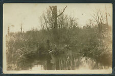 WI Suring RPPC 1909 GIRL with BRAIDS FISHING in CREEK with CANE ROD One of Kind