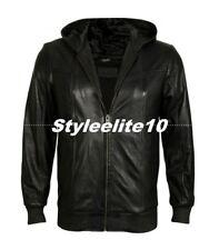 Pro Black Slim Fit Leather jacket with Hood, Leather Hoods Fashion Jackets men