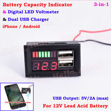 12V Lead Acid Battery BMS Capacity Level Indicator Volt Meter Dual USB Charger L