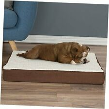 New listing Orthopedic Sherpa Top Pet Bed with Memory Foam and Removable Medium Brown