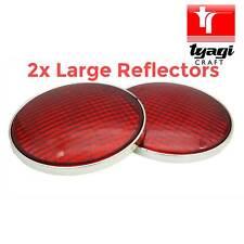 GRANDE Riflettore Rosso Rotondo 2 Pezzo Rimorchio Horsebox Caravan Posteriore Cromato Adesivo