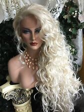 "AWESOME  32"" Curly LONG Platinum Blonde Lace Front HUMAN HAIR BLEND!"
