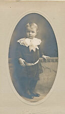 c1890 Little Boy with Wide Lace Collar & Bow Matted Sepia Photograph