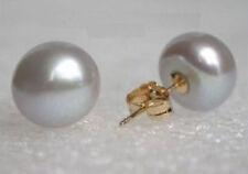 Hot 10-11 mm South Sea Gray Stud Pearl Earrings 14k GOLD