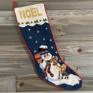 Vintage Needlepoint Christmas Stocking - Frosty Snowman NOEL Rudolph Reindeer