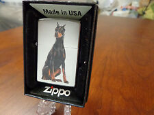 Doberman Pinscher Dog Satin Chrome Zippo Lighter Mint In Box