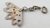Vintage Silver FAN CHARM 3-D Movable with Sterling Clasp & Chain 2.7gms
