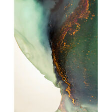Abstract Paint With Gold Green Unframed Wall Art Print Poster Home Decor