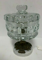 Vtg. Crystal or Glass Compote Dish With Lid, Pedestal Bowl Brass Marble Base