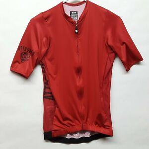 Attaquer Red Cycling Full Zip Jersey Mens Sz Medium Med Italy