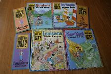 "4 HIGHLIGHTS ""WHICH WAY USA"" PUZZLE BOOKS 3 MAPS Kids Educational LA, MT, NH, NY"