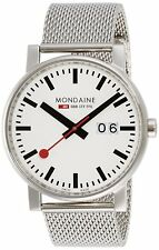 Mondaine Men's A627.30303.11SBM SBB EVO Big Date White Dial 40mm Mesh Bracelet