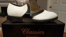 VINTAGE FOOTJOY CLASSICS  MENS GOLF SHOES 57158 NEW WH/GRN/BLK 11D MADE IN USA