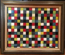 Vintage Mid Century Modern Abstract Geometric Hard Edge Oil Painting  Klee Style