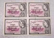 High Value 1957 Ghana #12 Block of 4 5sh Gold Coast Independence Overprint